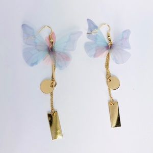 New! Purple Butterfly Chain Drop Charms Earrings